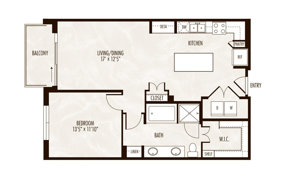 Beau 1 Bed 1 Bath Floorplan