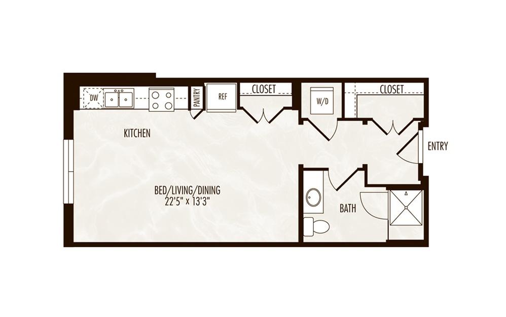 Beck Studio 1 Bath Floorplan