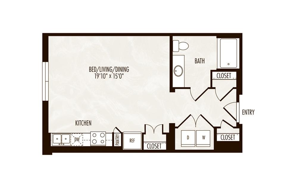 Brook Studio 1 Bath Floorplan