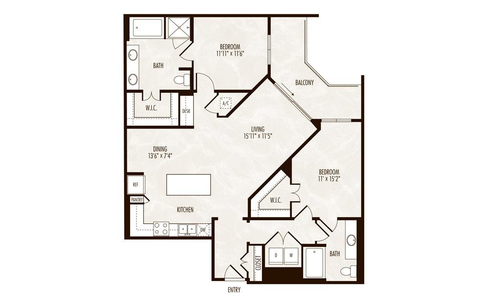 Caspian 2 Bed 2 Bath Floorplan