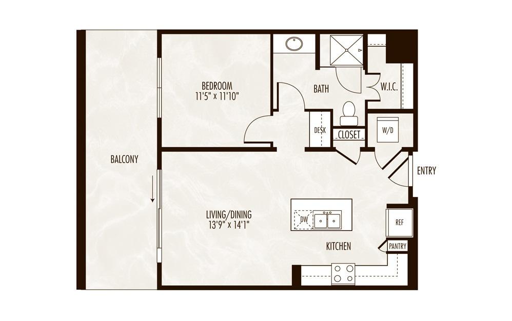 Champlain 1 Bed 1 Bath Floorplan