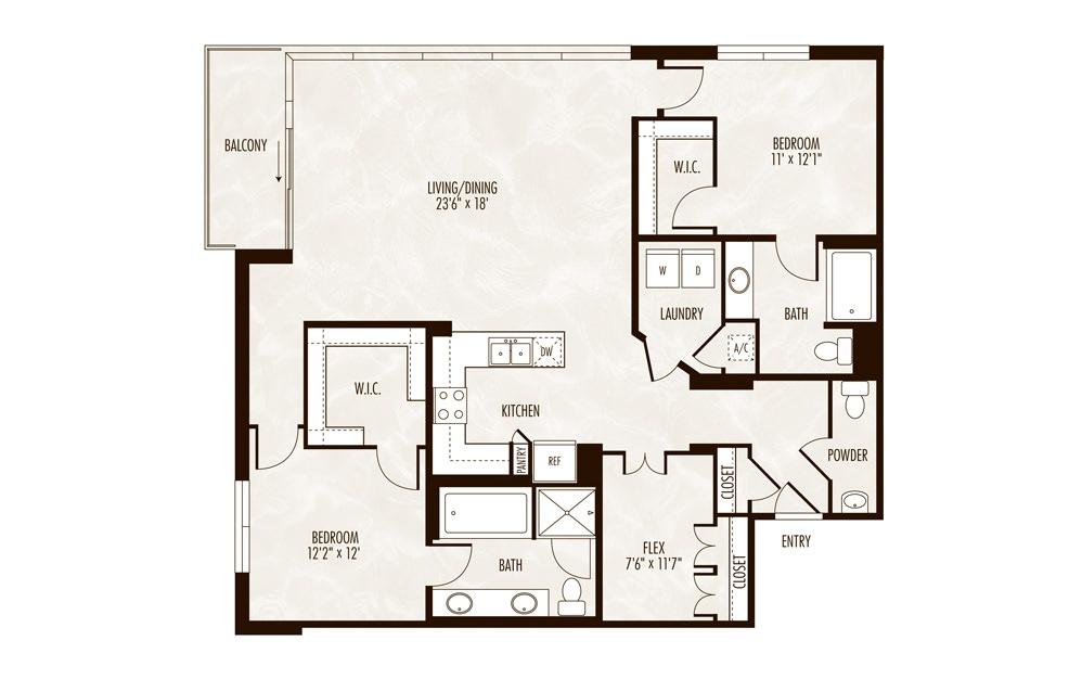 Como 2 Bed 2.5 Bath Floorplan