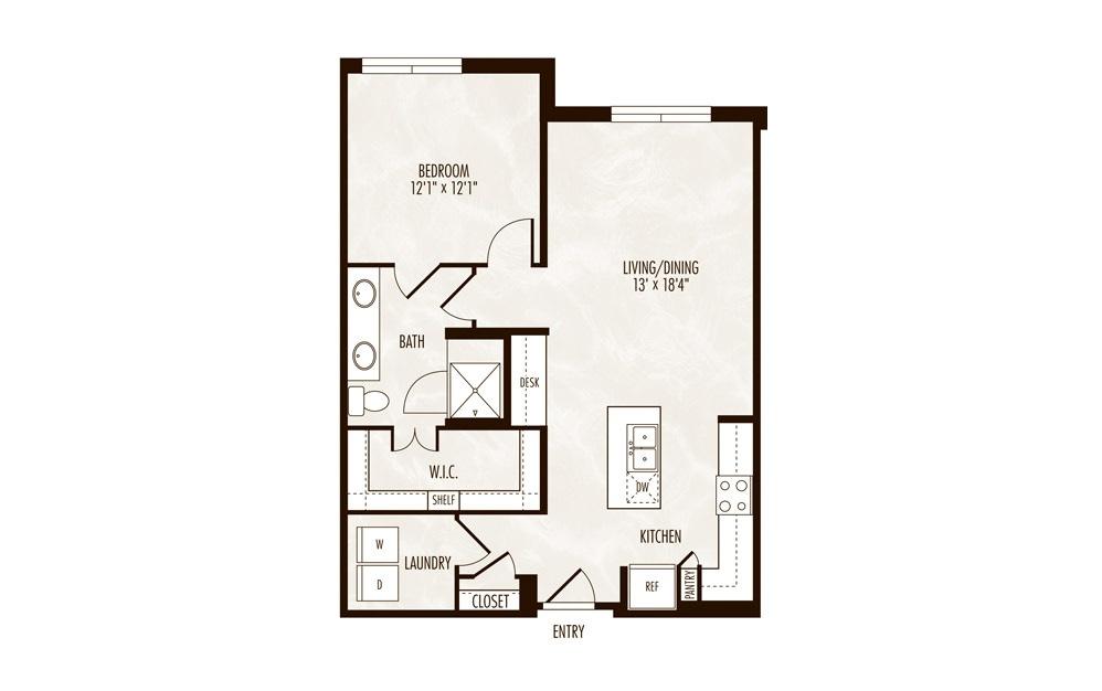 Cour d'Alene 1 Bed 1 Bath Floorplan