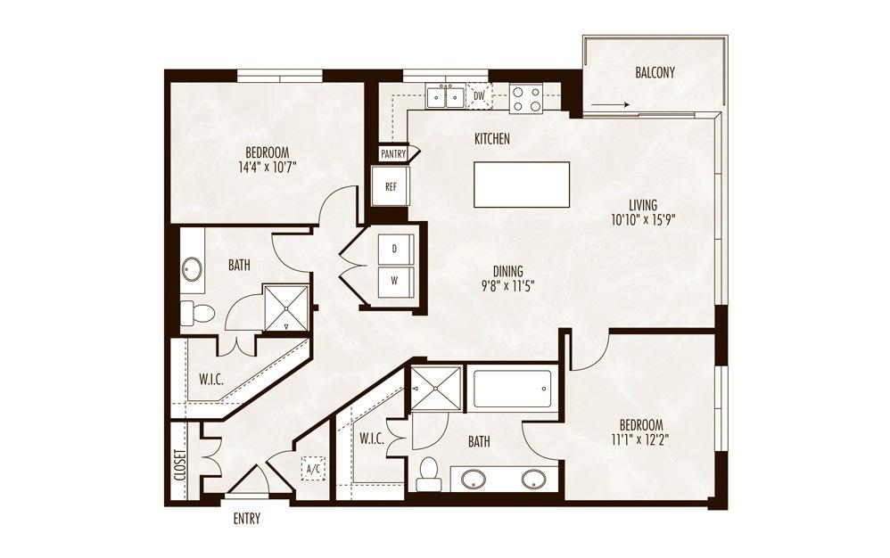 Garda 2 Bed 2 Bath Floorplan