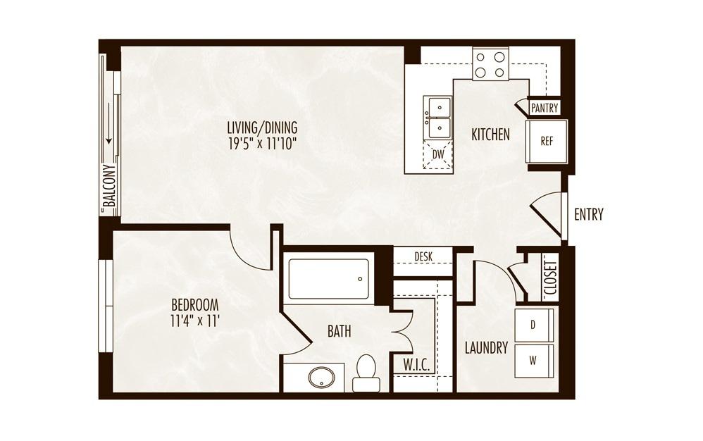 George 1 Bed 1 Bath Floorplan