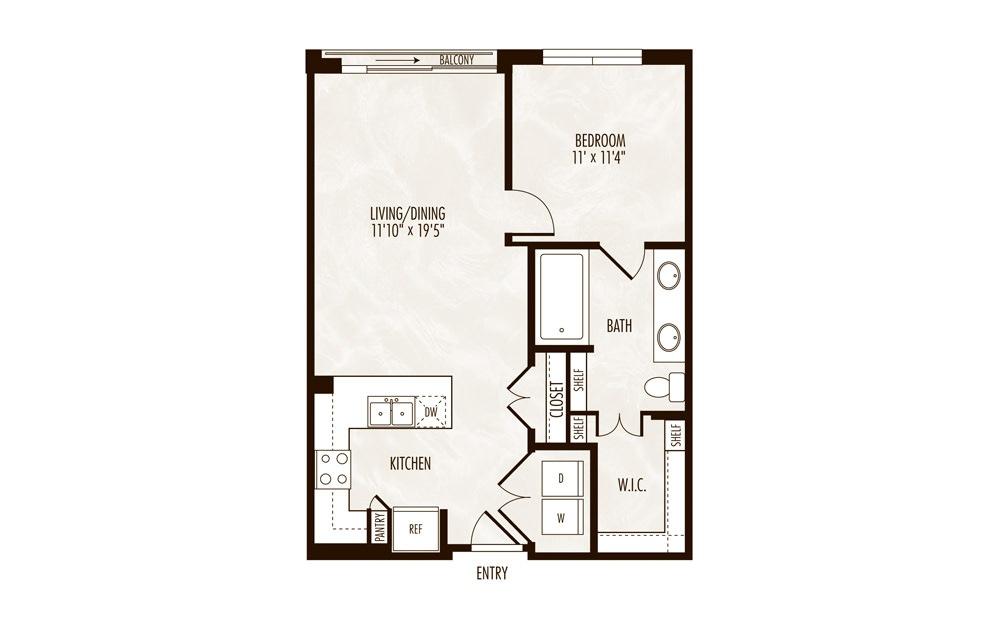Havasu 1 Bed 1 Bath Floorplan