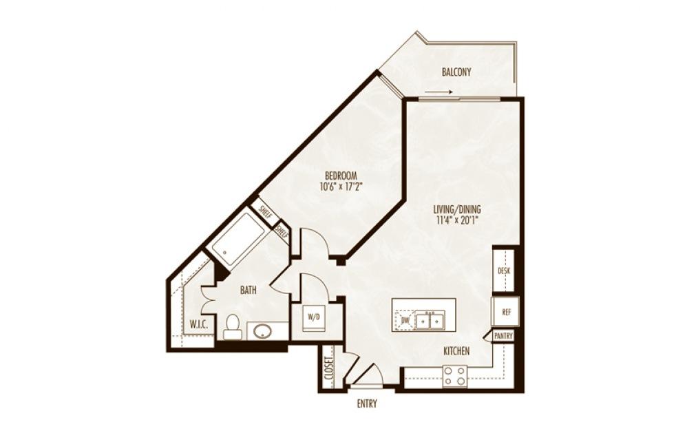 Hillier 1 Bed 1 Bath Floorplan