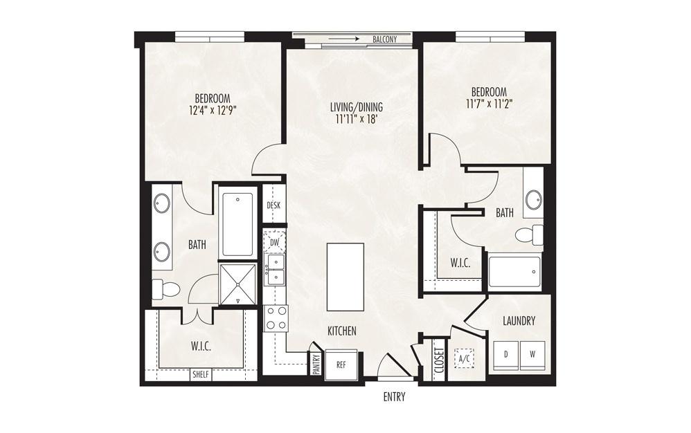 Huron 2 Bed 2 Bath Floorplan