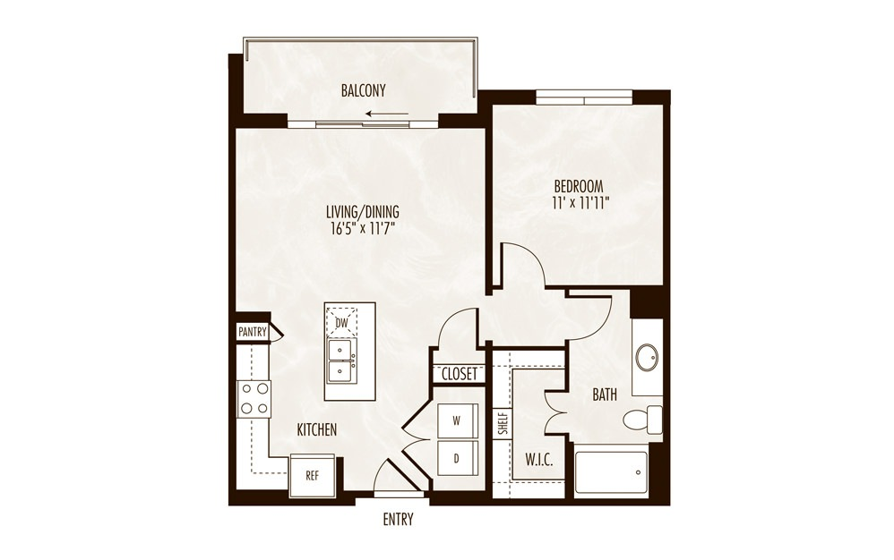 Jocassee 1 Bed 1 Bath Floorplan