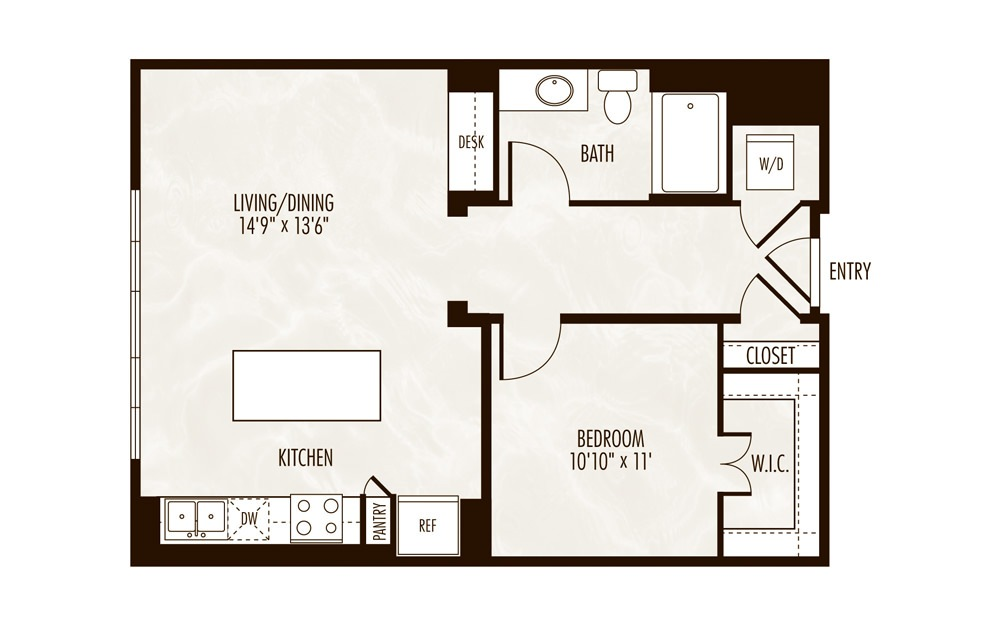 Louise 1 Bed 1 Bath Floorplan