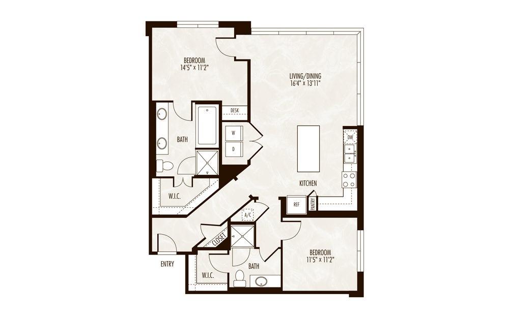 Lucerne 2 Bed 2 Bath Floorplan