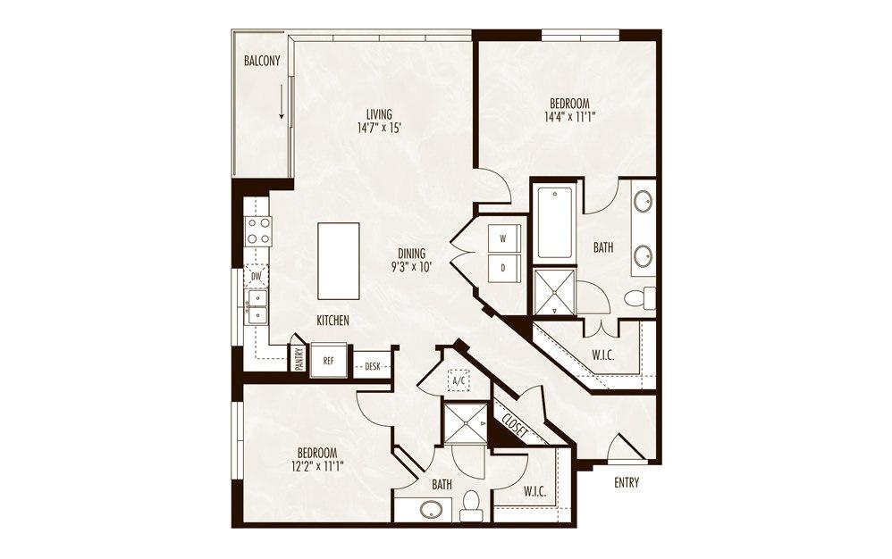 Michigan 2 Bed 2 Bath Floorplan