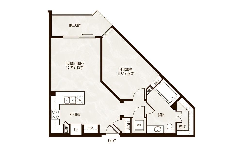 Morraine 1 Bed 1 Bath Floorplan