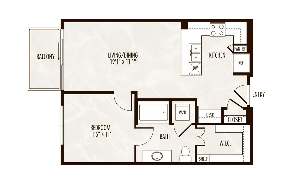 Ness 1 Bed 1 Bath Floorplan