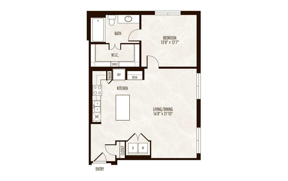 Niassa 1 Bed 1 Bath Floorplan