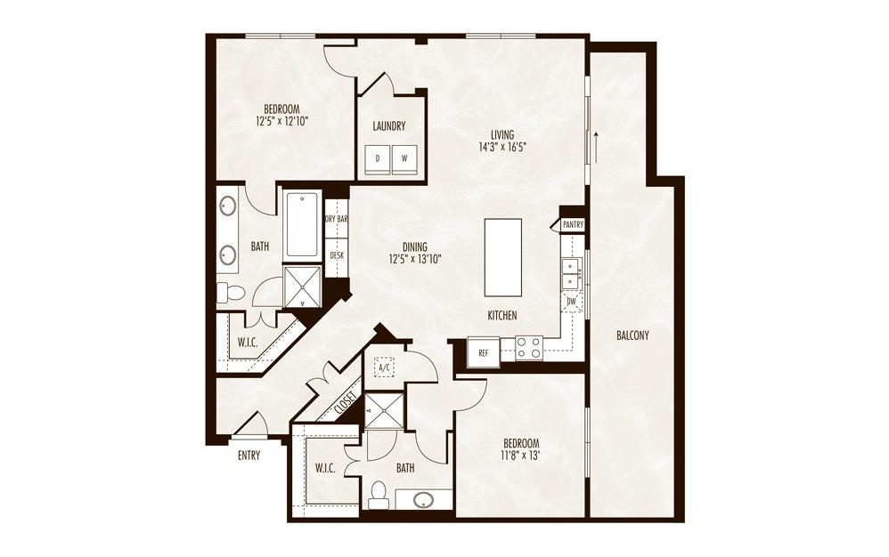 Ontario 2 Bed 2 Bath Floorplan