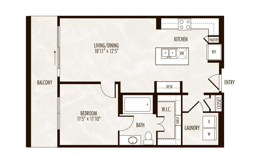 Peyto 1 Bed 1 Bath Floorplan