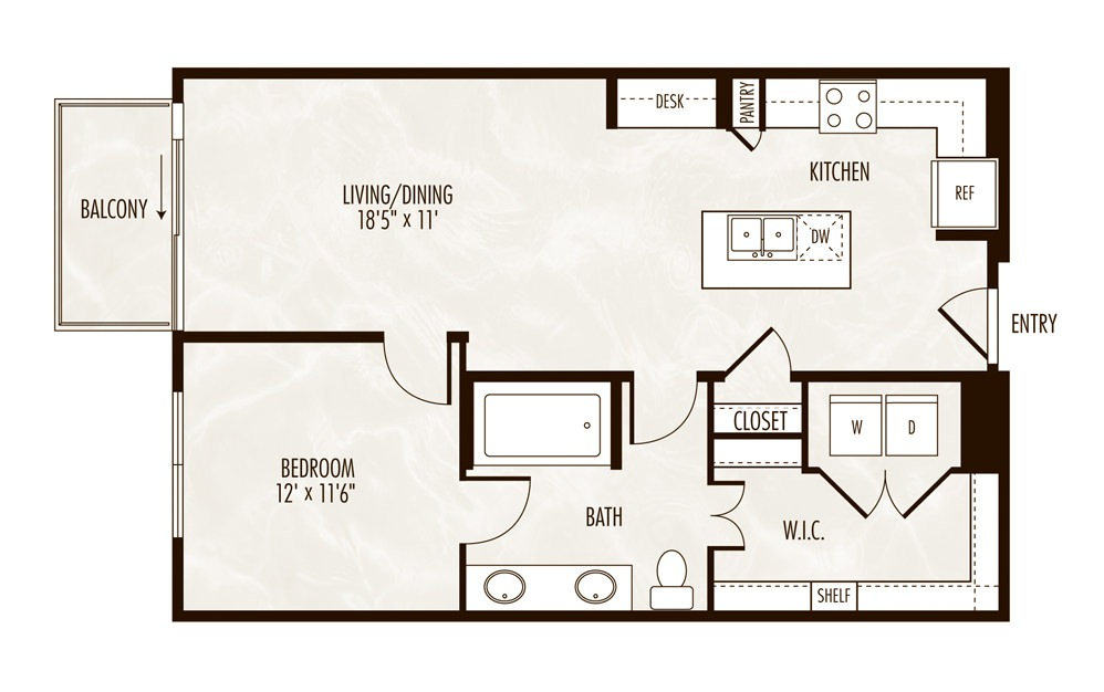 Powell 1 Bed 1 Bath Floorplan