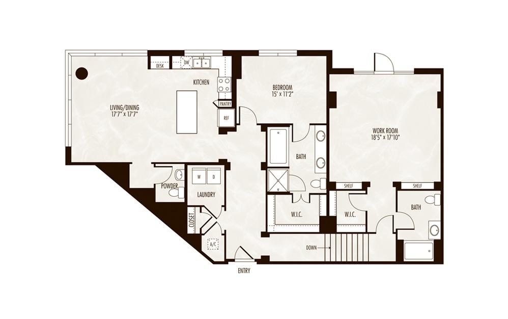 Prospect 1 Bed 2.5 Bath Floorplan