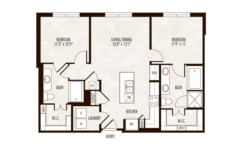 Sainte-Croix 2 Bed 2 Bath Floorplan