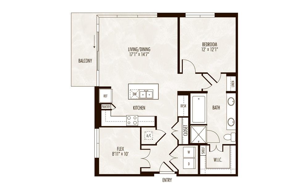 Sloan 1 Bed 1 Bath Floorplan