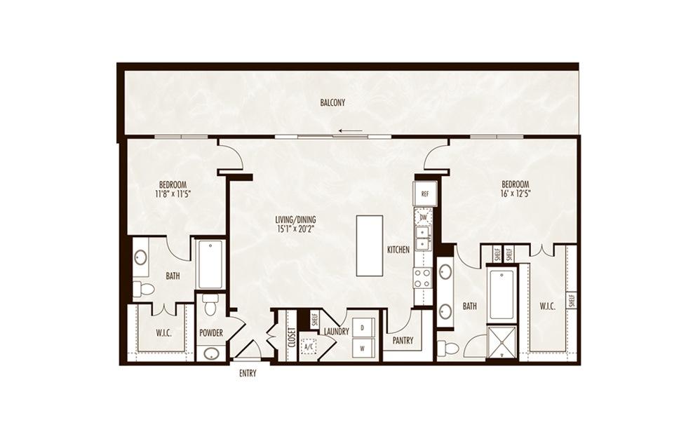 Superior 2 Bed 2.5 Bath Floorplan