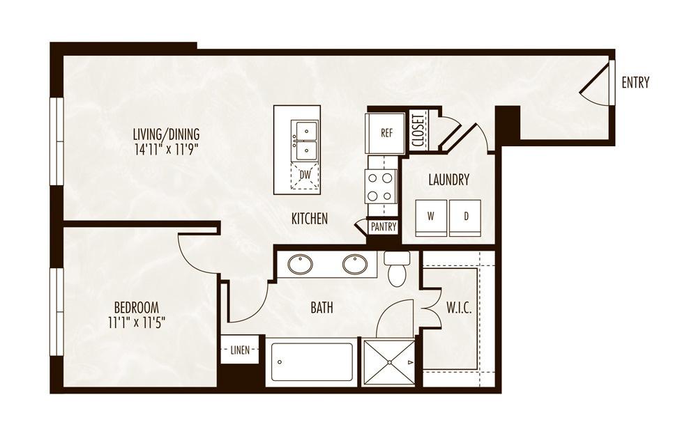 Tahoe 1 Bed 1 Bath Floorplan