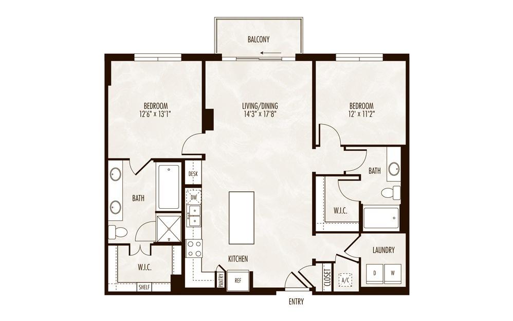 Tanga 2 Bed 2 Bath Floorplan