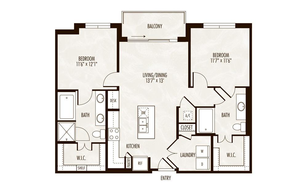 Victoria 2 Bed 2 Bath Floorplan