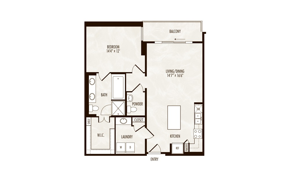 Maggiore 1 Bed 1.5 Bath Floorplan