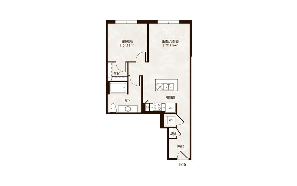 Ozark 1 Bed 1 Bath Floorplan