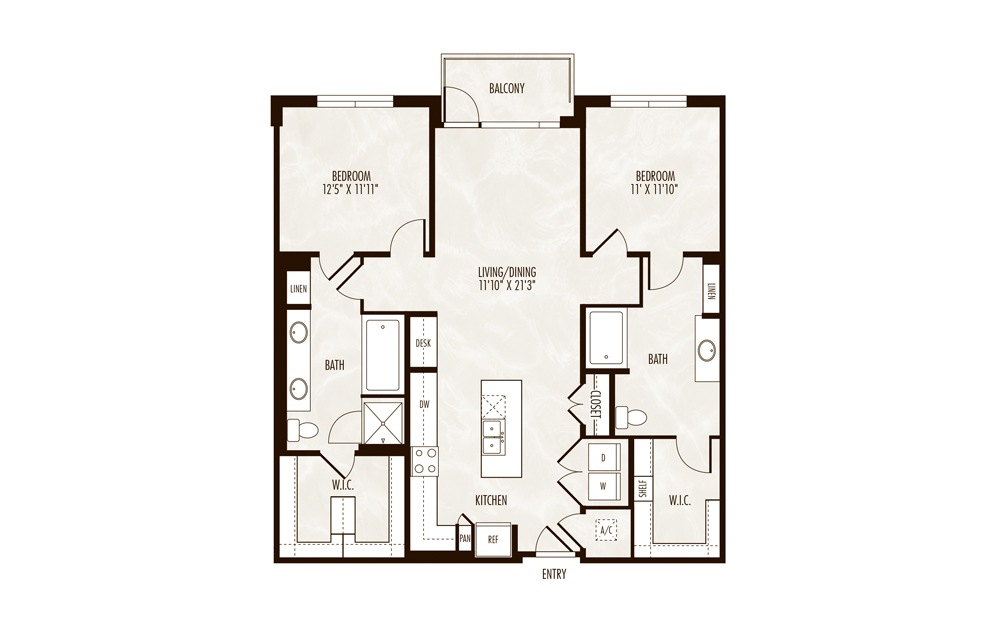 Sanabria 2 Bed 2 Bath Floorplan