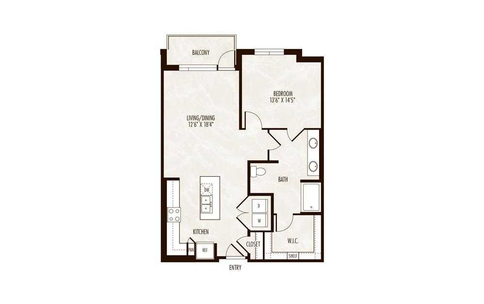 Travis 1 Bed 1 Bath Floorplan